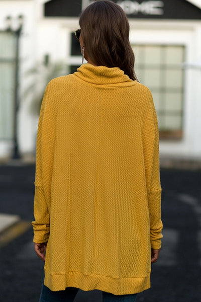Waffled in Mustard Cowl Neck Sweater Top