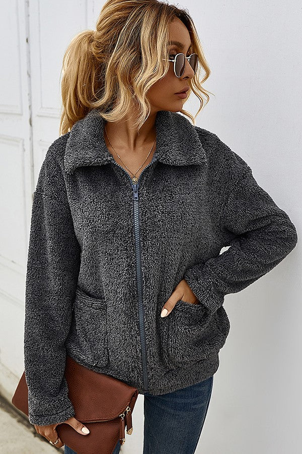 Snuggle Up Fuzzy Charcoal Jacket