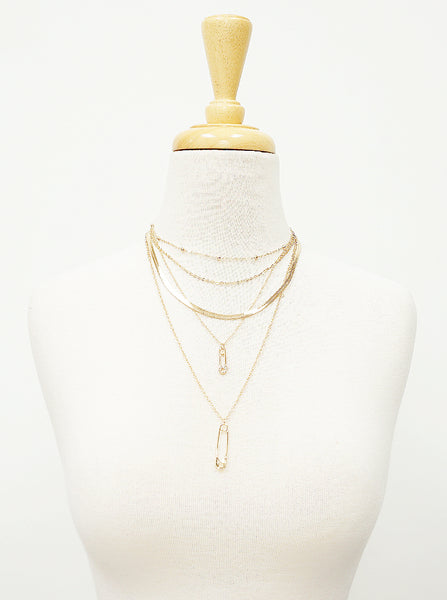 Layered in Safety Pins Necklace