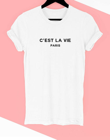 """C'est La Vie Paris"" Rolled Sleeve Graphic Tee Shirt"
