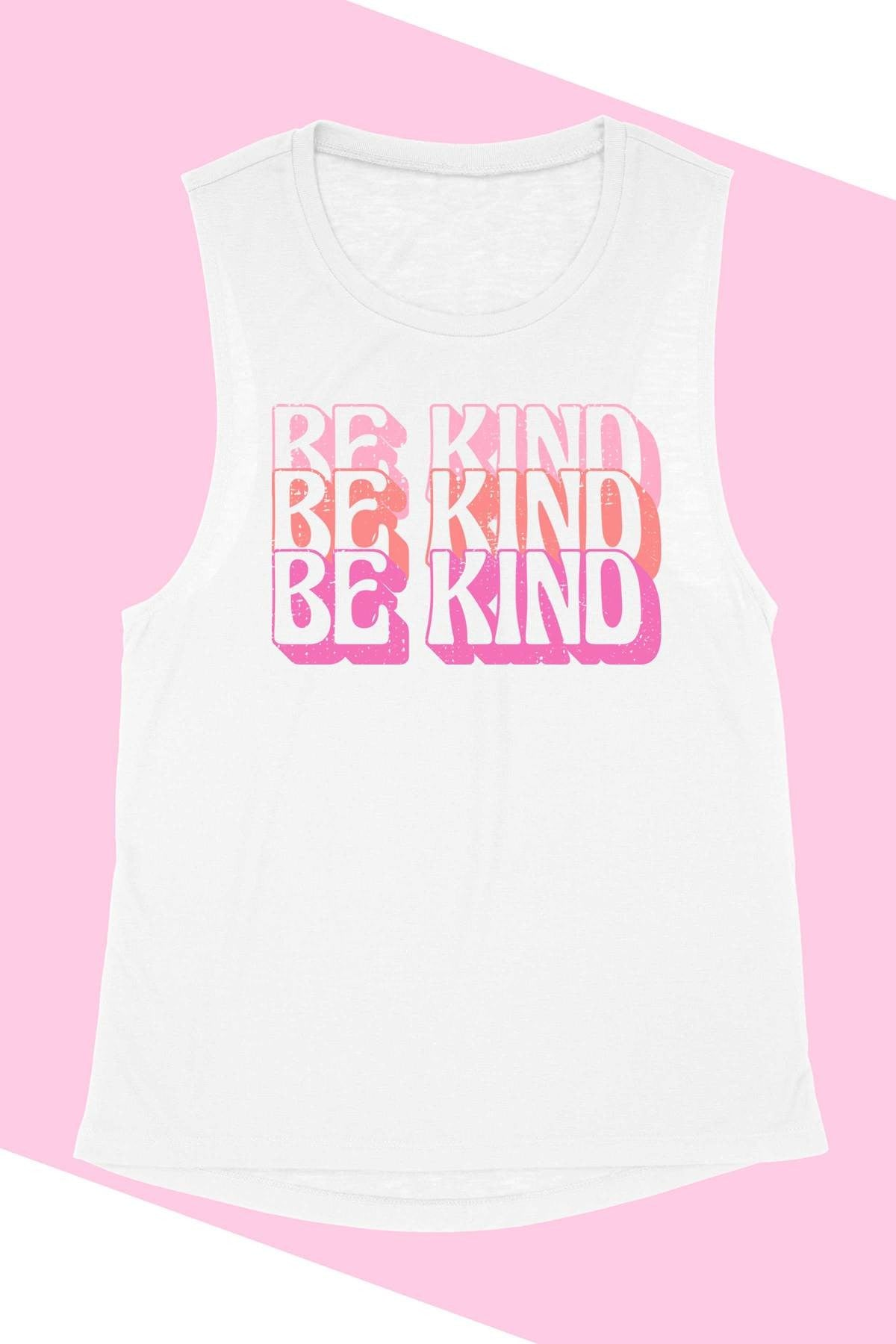"""Be Kind"" Muscle Graphic Printed Tee Shirt"