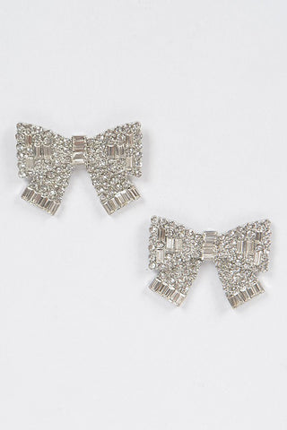 Rhinestone Embellished Bow Shape Post Earrings