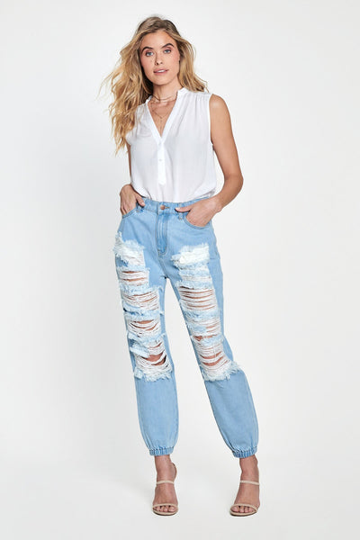 Distressed Hi Waist Denim Jogger