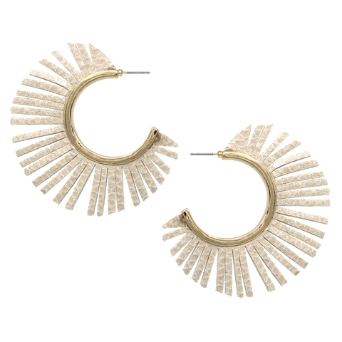 Nude Snake Gold Faux Leather Fringe Hoops