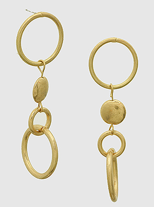 Gold Metal Geometric Circles Drop Earrings