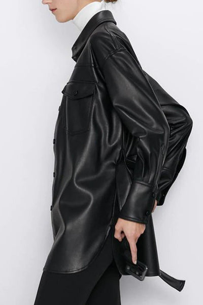 Snap Up Faux Leather Belted Jacket