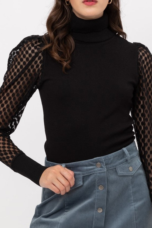 Lace Polka Dot Puff Sleeve Knit Top