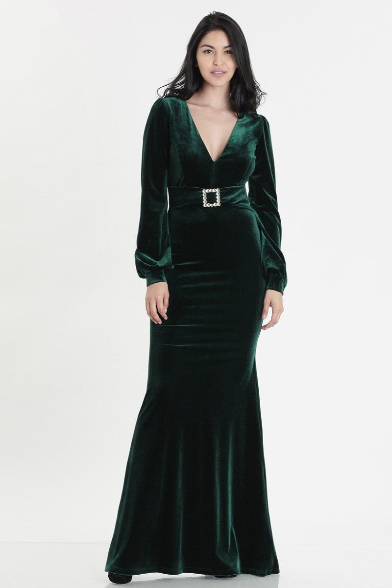 Emerald Velvet Stretch Gown