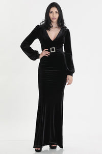 Black Velvet Stretch Gown