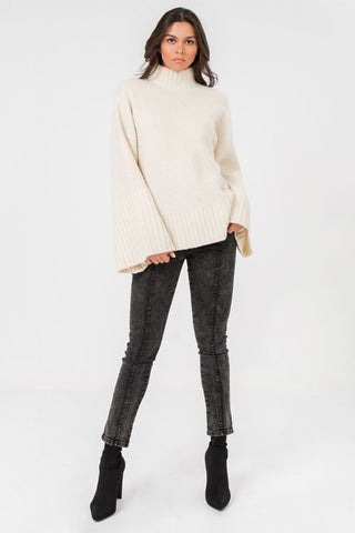 Exaggerated Bell Sleeve TurtleNeck Sweater