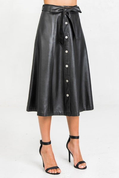 Faux Leather Button Down Midi Skirt