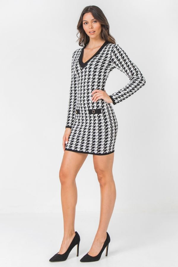 Houndstooth Fitted Knit Sweater Dress