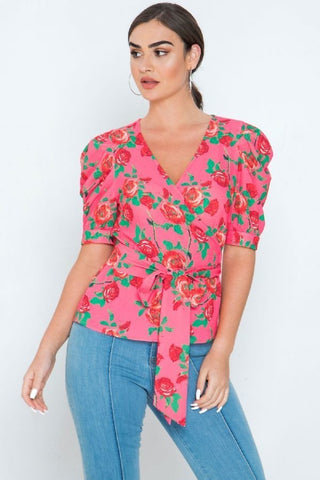 Coming Up Roses Wrap Top