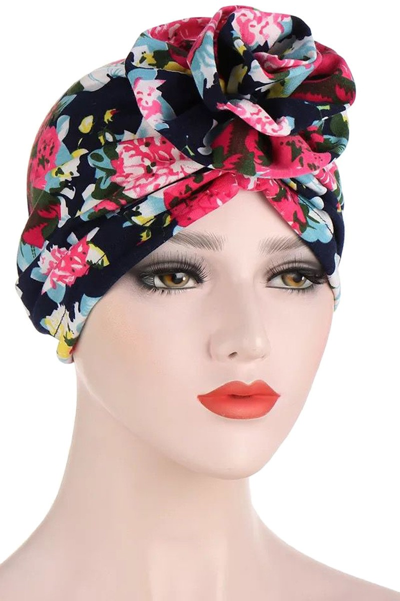 Pink Floral Stretch Turban