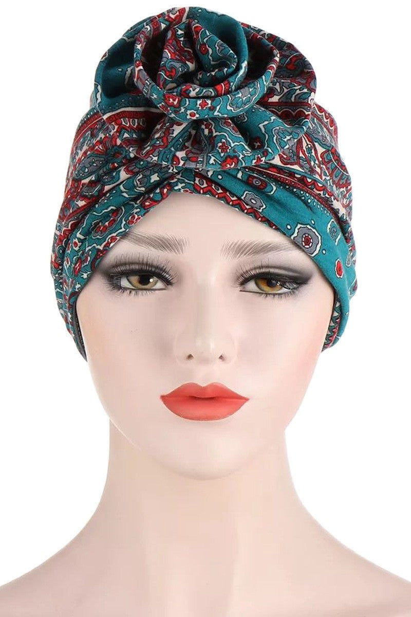 Deep Turquoise Abstract Print Stretch Turban