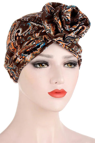 Mocha Abstract Print Stretch Turban