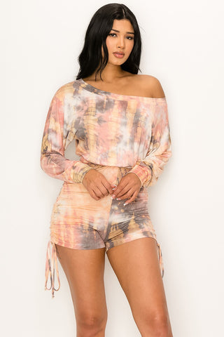 Night Cap Off Shoulder Tie Dye Romper