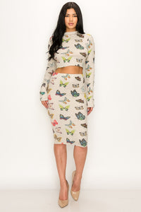 Butter- Fly 2 Piece Matching Skirt Set