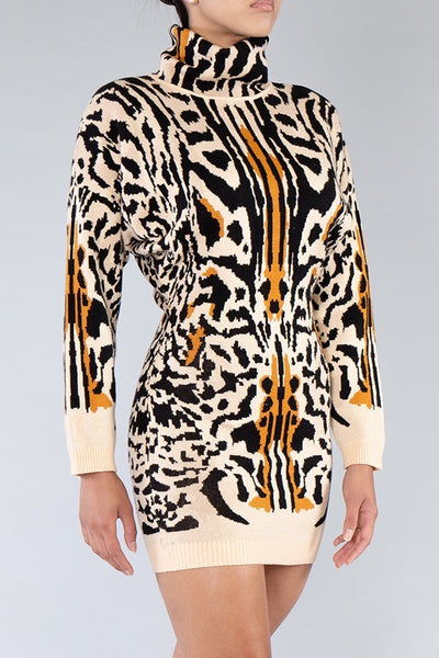 Cheetah Printed Stretch Sweater Dress
