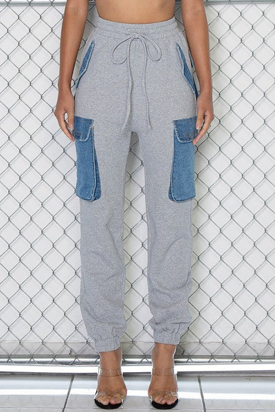 French Terry and Denim Cargo Jogger Sweats