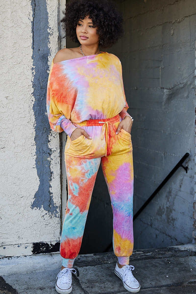 Sunburst Off the Shoulder Tie Dye Onesie Jumpsuit