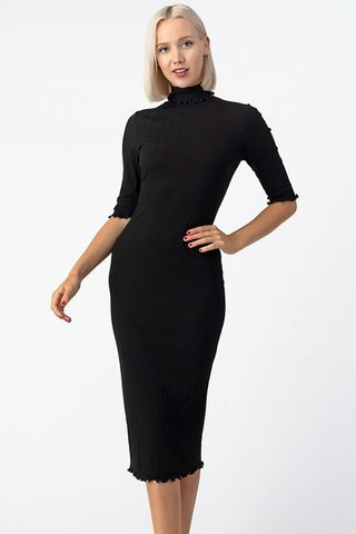 Figure Eight Fitted Ribbed Midi Dress