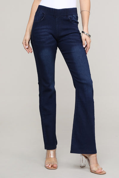 Stretch Pull Up Wide Leg Denim
