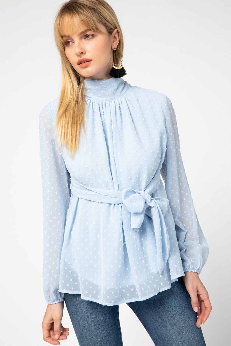 Flowy Icy Blue Dotted Blouse