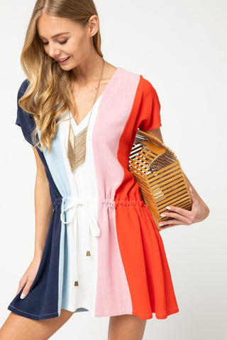 Linen Color Block V Neck Romper