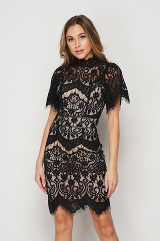 Lacey Loves Lace Black Dress