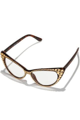 Swarovski Topaz Crystal Pave Cat Eye Glasses