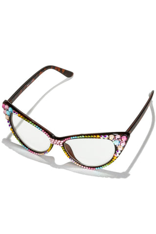 Swarovski Multi Colored Crystal Pave Cat Eye Glasses