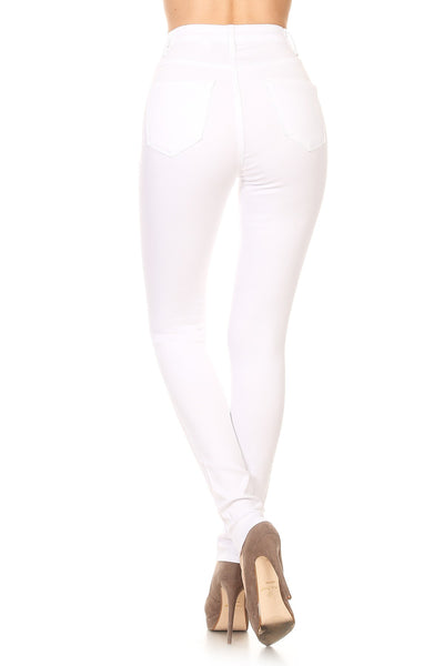 White on White Mid Rise Skinny Denim Skinnies
