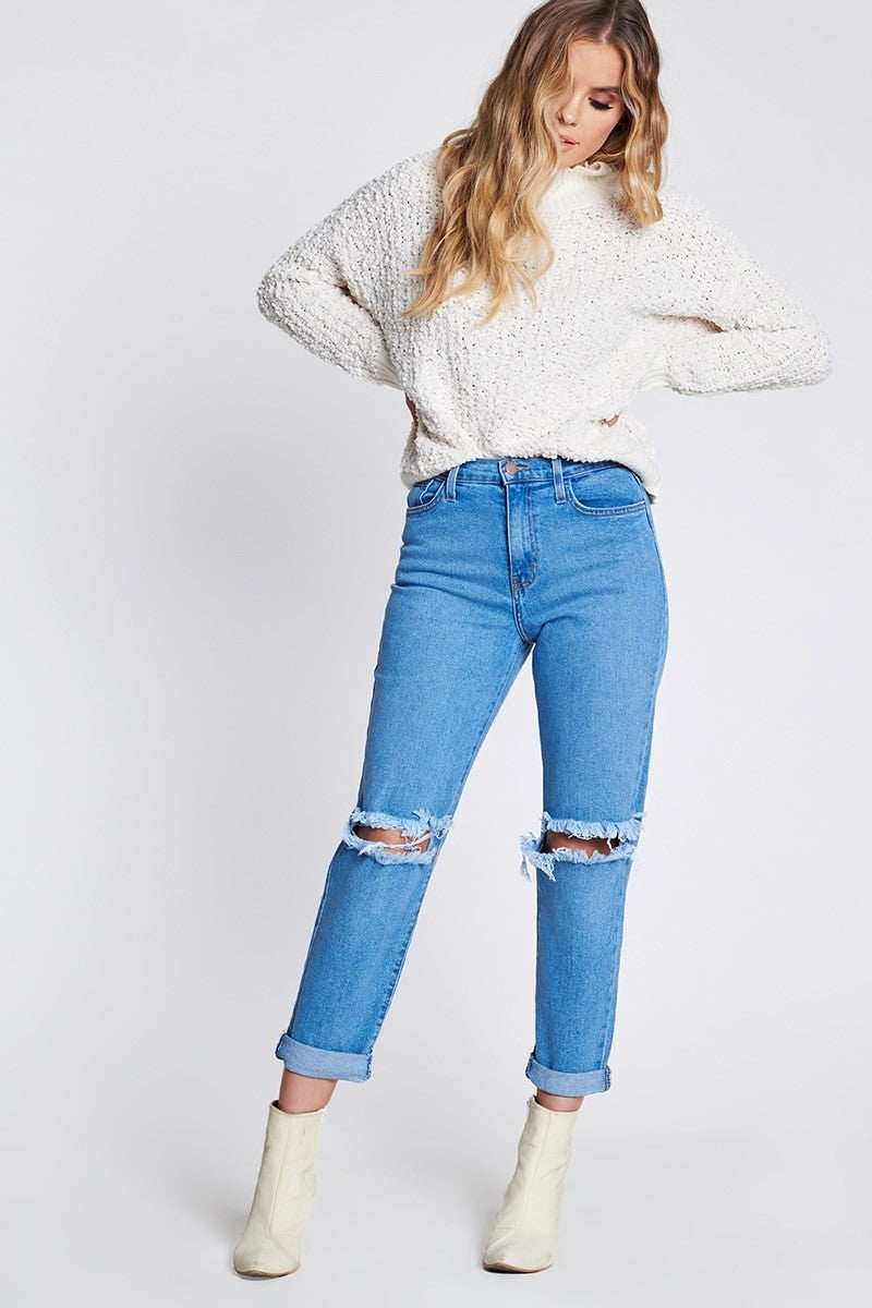 Relax that A$s High Waist Relaxed Distressed Denim