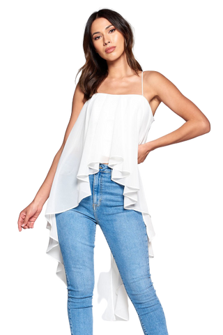 Exaggerated Hi Low Draped Top