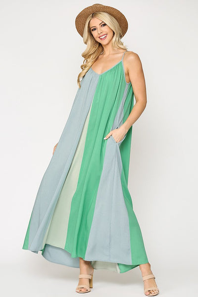 Spearmint Vertical Color Block Maxi Dress