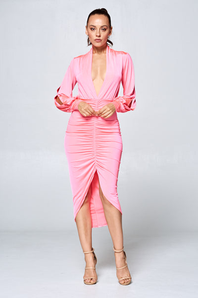 Plunge for Pink Ruched Midi Dress