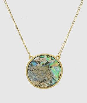 Gold Abalone Shell Pendant Necklace