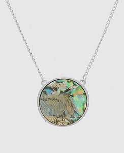 Silver Abalone Shell Pendant Necklace