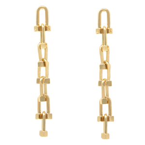 Gold Abstract Link Hardware Drop Earrings