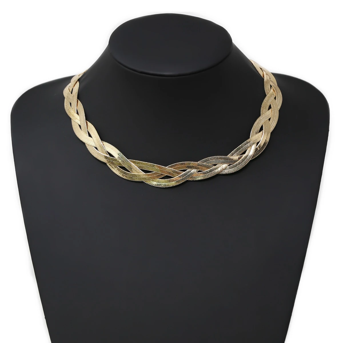 Braided Gold Flat Snake Skin Necklace Set