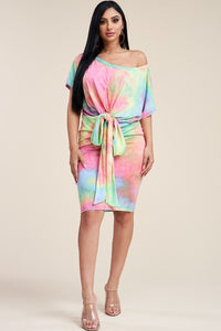 Pink Summer Sorbet Tie Dye Off Shoulder Dress