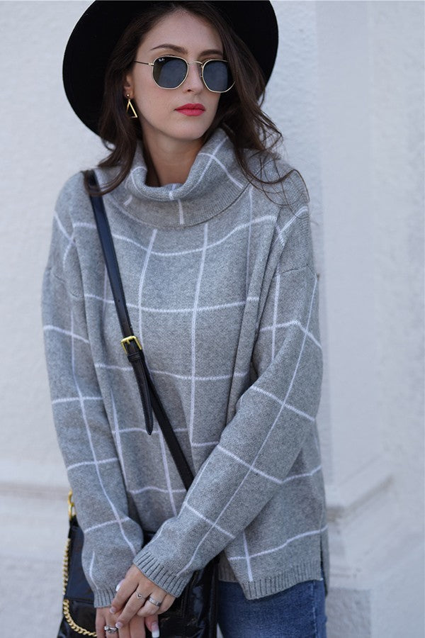Slouchy Window Pane Gray Sweater