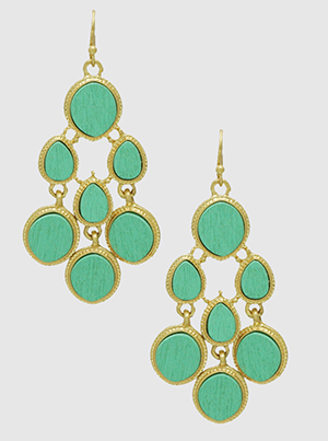Mint Green Wood With Textured Dangling Drop Earrings