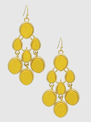 Yellow Mustard Wood With Textured Dangling Drop Earrings