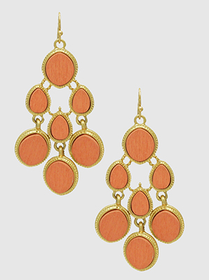 Orange Coral Wood With Textured Dangling Drop Earrings