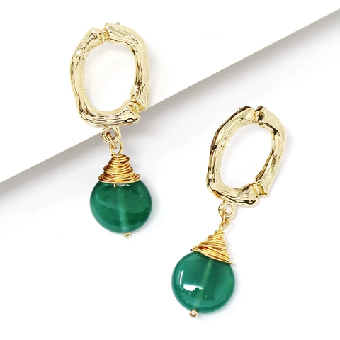 Wrapped in Emerald Natural Stone Drop Earrings