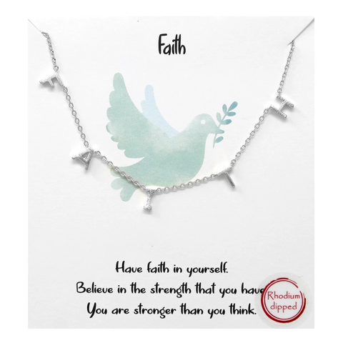 """Faith"" Silver Brass Fringe Letter Necklace"