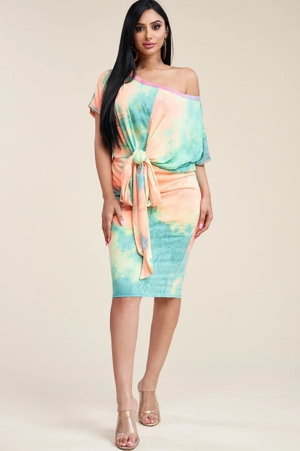 Creamsicle Summer Sorbet Tie Dye Off Shoulder Dress