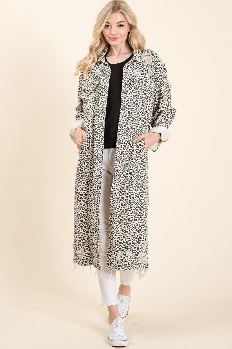 Animal Instincts Printed Distressed Midi Jacket